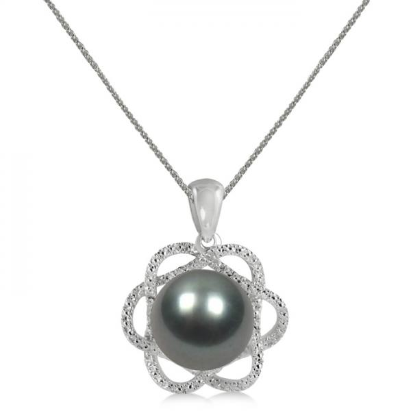 Tahitian Black Pearl & Diamond Flower Pendant 14K White Gold 10-11mm