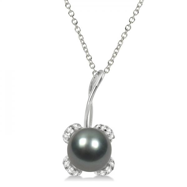Diamond and Black Tahitian Pearl Pendant Necklace 14K White Gold 8-9mm