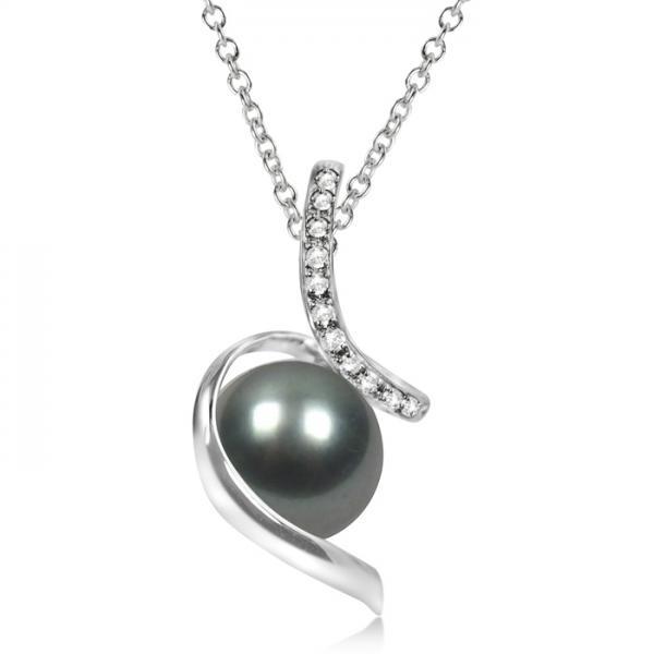 Diamond Twist Tahitian Cultured Pearl Pendant 14K White Gold 11-12mm
