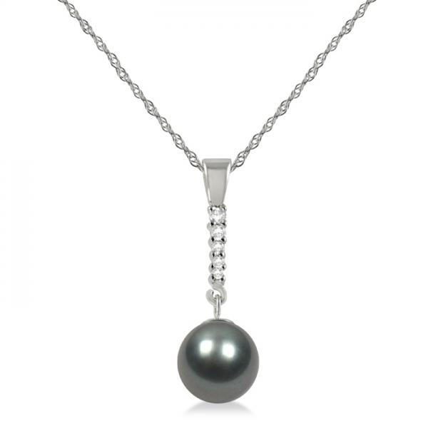Black-Grey Tahitian Pearl & Diamond Drop Pendant Necklace 14K W. Gold 8-9mm
