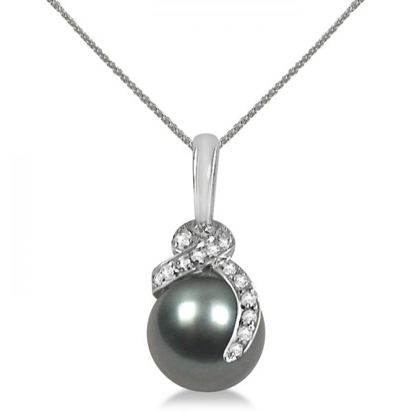 Diamond Swirl & Tahitian Pearl Drop Necklace 14K White Gold 10-10.5mm