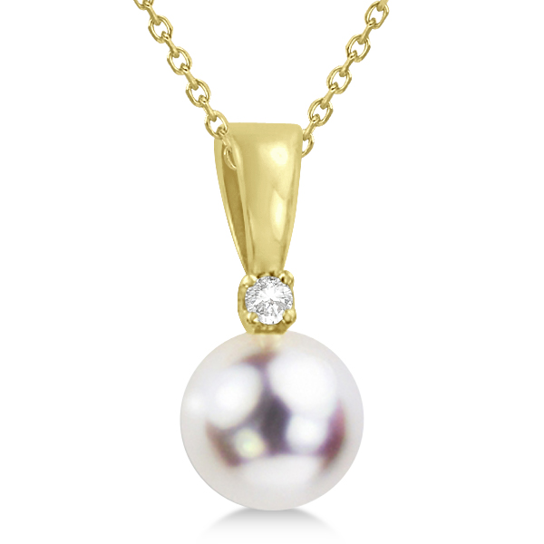 Akoya Pearl Solitaire Pendant Necklace 14k Yellow Gold 6-6.5mm 0.03ct