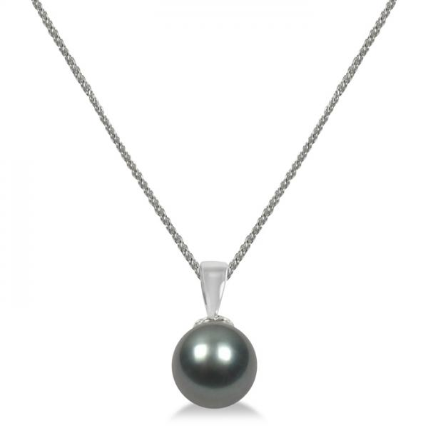 Cultured Tahitian Black Pearl Solitaire Pendant 14K White Gold 9-10mm