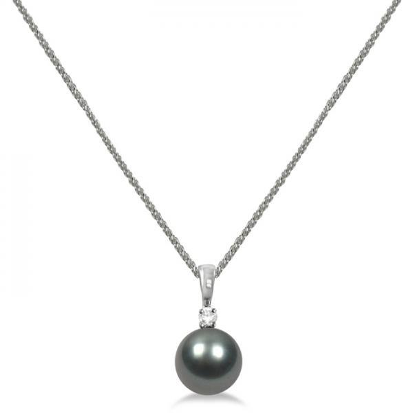 Diamond & Tahitian Black Pearl Solitaire Pendant  14K White Gold 8-9mm