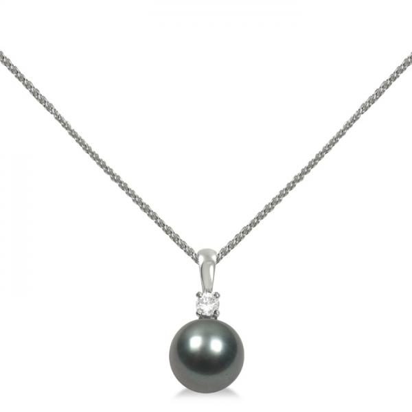 Diamond & Tahitian Black Pearl Solitaire Pendant 14K White Gold 9-10mm