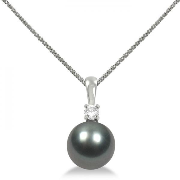 Diamond & Tahitian Black Pearl Solitaire Pendant 14K White Gold 10-11mm