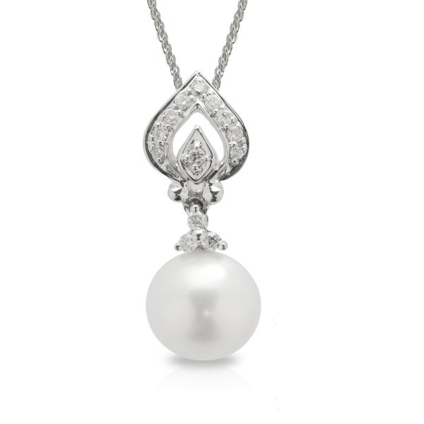 Diamond & Freshwater Pearl Pendant Necklace in 14k White Gold 7.5-8mm