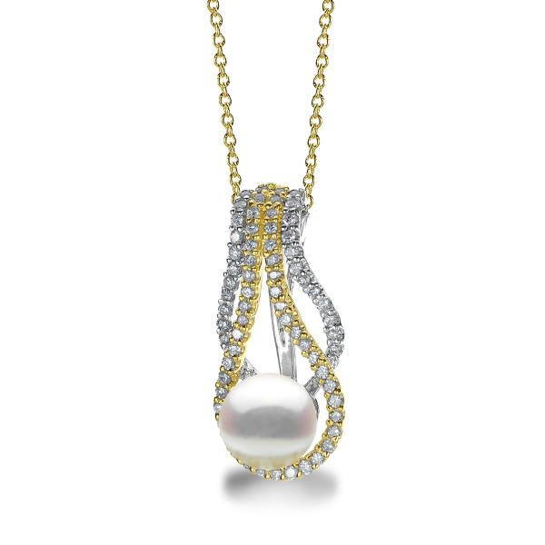 Akoya Pearl & Diamond Twist Pendant Necklace 14k Two Tone Gold 0.46ct