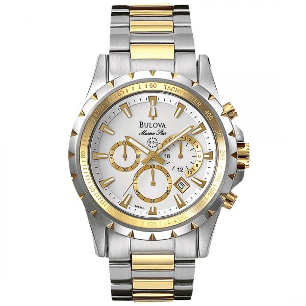 Bulova Men's Two Tone Tachymeter Chronograph Stainless Steel Watch