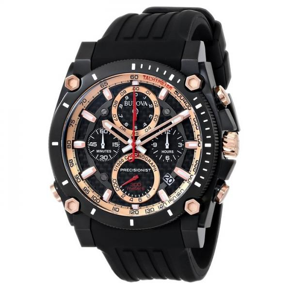Bulova Men's Precisionist Black Rubber Chronograph Quartz Watch