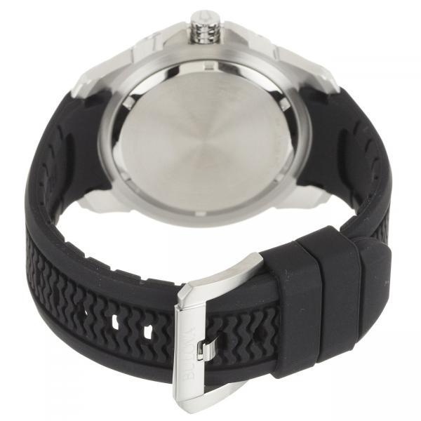 Bulova Marine Star Analog Watch Black Dial Stainless Steel Rubber Strap