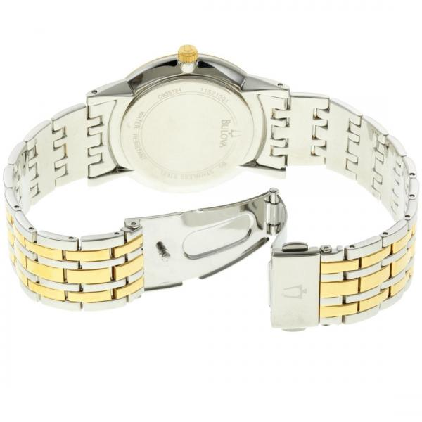Bulova Men's Two-Tone Gold and Silver Dial Diamond Accented Watch