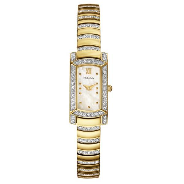 Women's Bulova Watch Rectangular, Crystal Stones, Stainless Steel