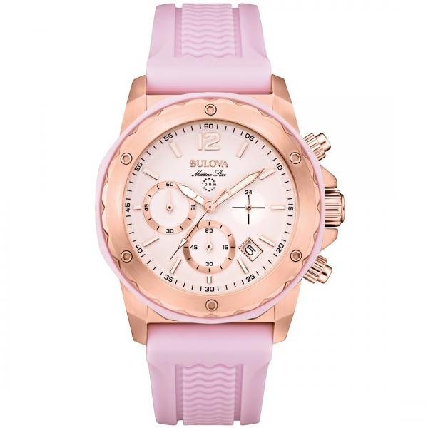 Bulova Women's Pink Dial Chronograph Silicone Strap Quartz Watch