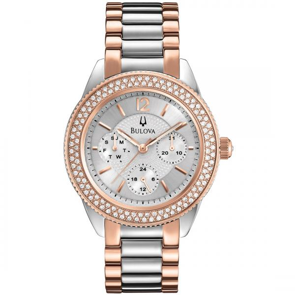 Bulova Women's Chronograph Silver Dial Two Tone Stainless Steel Watch