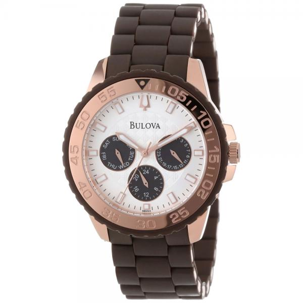 Bulova Women's Silver Dial Chronograph Rose-Gold Brown Rubber Watch
