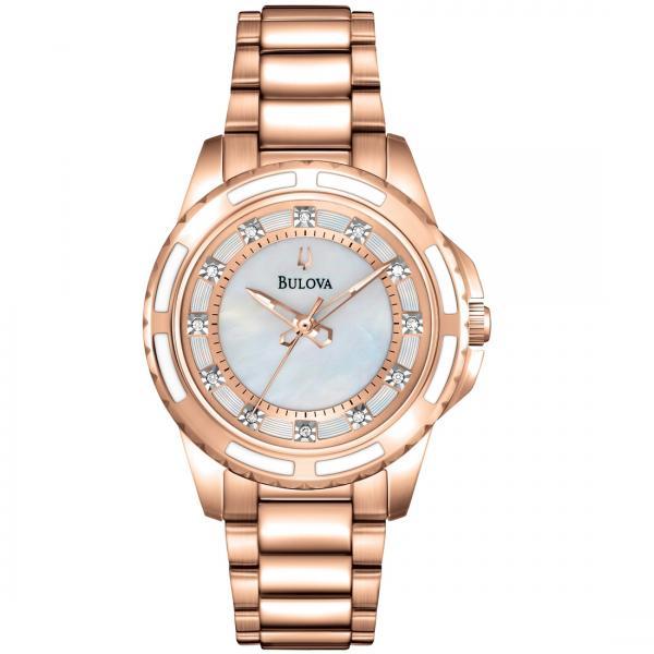 Bulova Women S Rose Gold Tone Stainless Steel Diamond Quartz Watch
