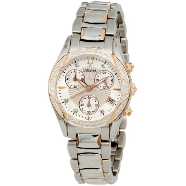 Bulova Quartz Watch, Mother of Pearl Dial, Diamonds, Stainless Steel