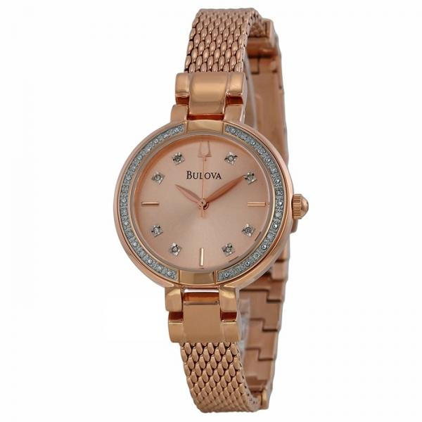 Bulova Women's Diamond Accented Rose Gold Tone Mesh Bracelet Watch