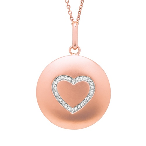 Diamond Heart Disc Pendant Necklace 14k Rose  Gold (0.10ct)