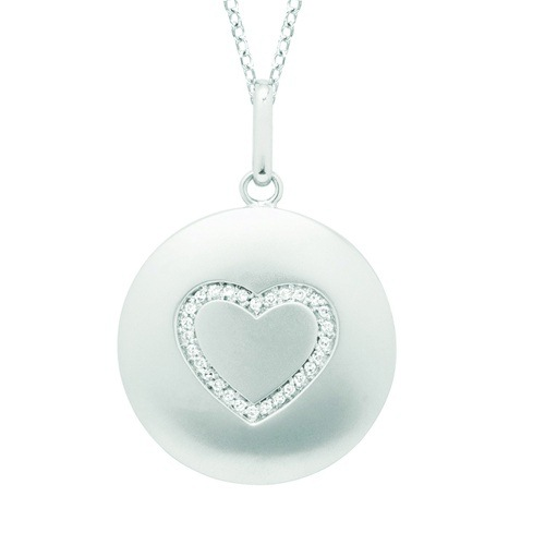 Diamond Heart Disc Pendant Necklace 14k White Gold (0.10ct)