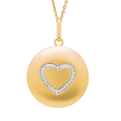 Diamond Heart Disc Pendant Necklace 14k Yellow Gold (0.10ct)