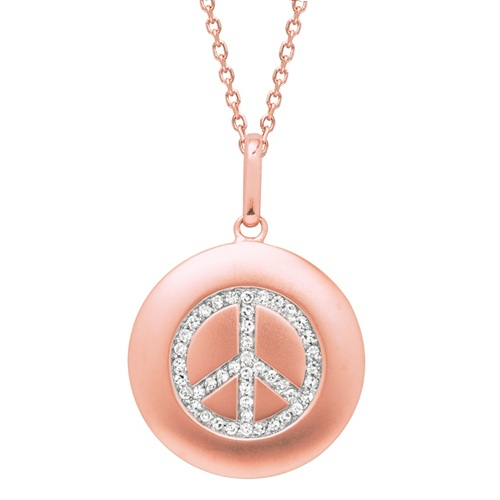 Diamond Peace Sign Disc Pendant Necklace 14k Rose Gold (0.16ct)