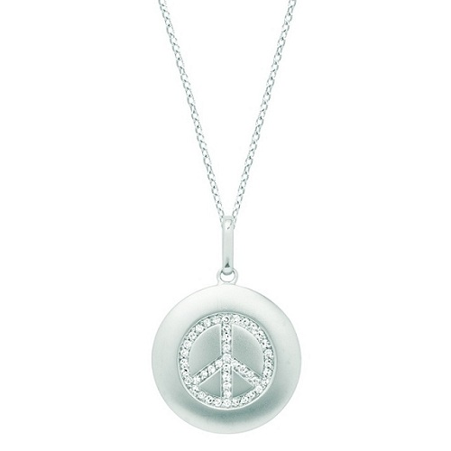 Diamond Peace Sign Disc Pendant Necklace 14k White Gold (0.16ct)