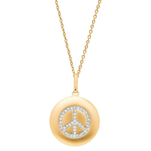 Diamond Peace Sign Disc Pendant Necklace 14k Yellow Gold (0.16ct)