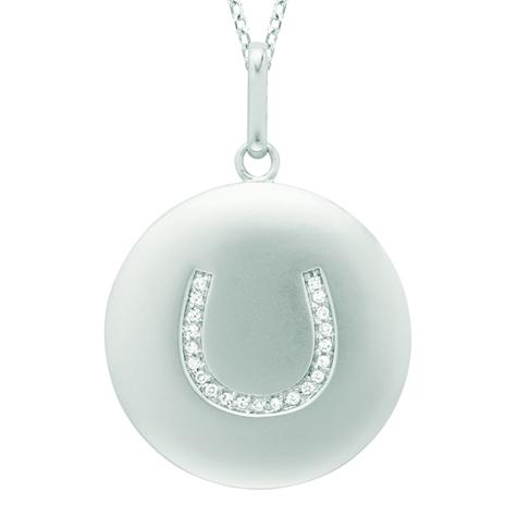 Diamond Horseshoe Disc Pendant Necklace 14k White Gold (0.10ct)