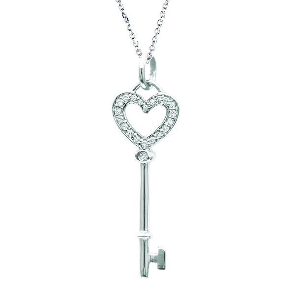 Diamond Heart Key Pendant Necklace in Sterling Silver (0.10ct)