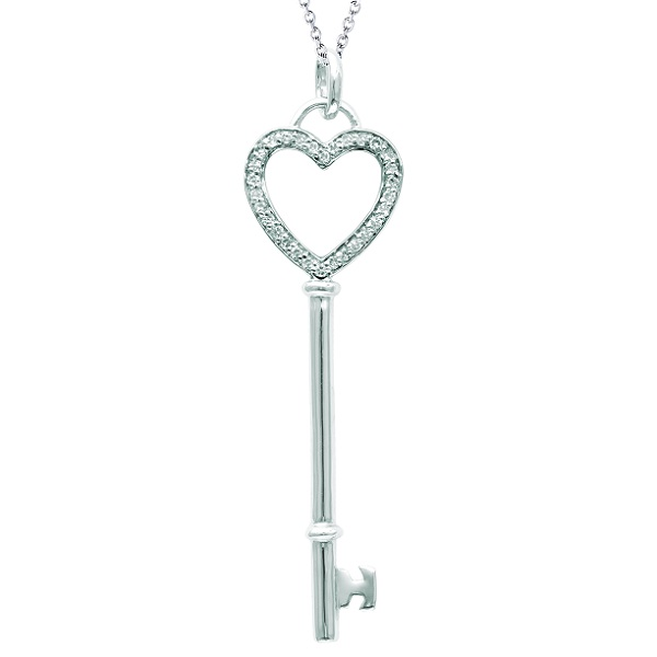 Diamond Open Heart Key Pendant Necklace Sterling Silver (0.12ct)