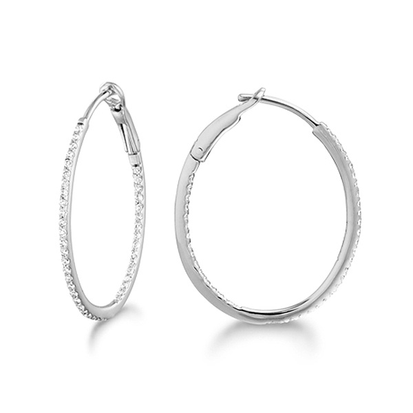 Micro Pave Small Oval Diamond Hoop Earrings Sterling Silver (0.20ct)