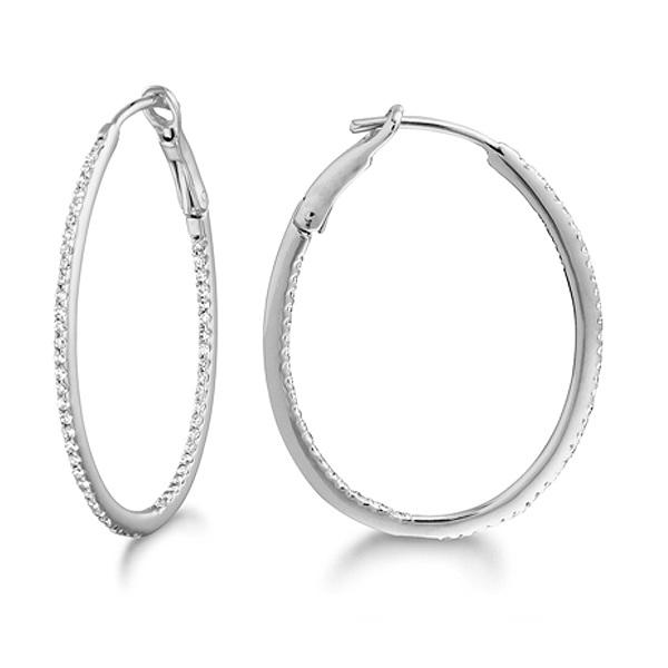 Micro Pave Medium Oval Diamond Hoop Earrings Sterling Silver (0.26ct)