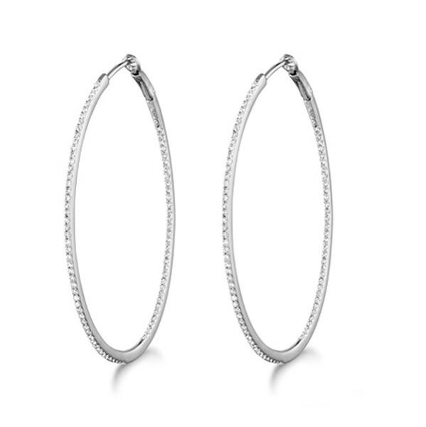Micro Pave Large Oval Diamond Hoop Earrings Sterling Silver (0.42ct)