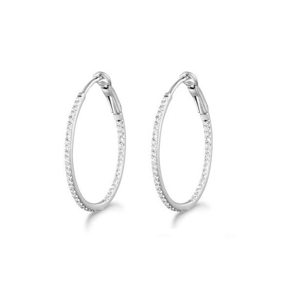 Micro Pave Small Round Diamond Hoop Earrings Sterling Silver (0.20ct)