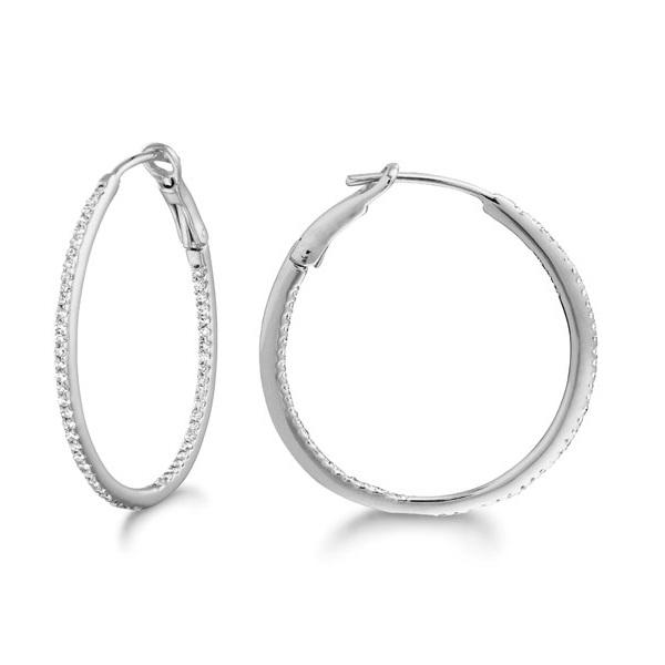 Micro Pave Medium Round Diamond Hoop Earrings Sterling Silver (0.26ct)