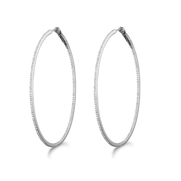 Micro Pave X-Large Round Diamond Hoop Sterling Silver Earrings (0.63ct)
