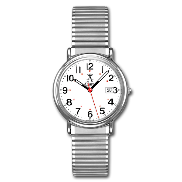 Allurez Men's Classic Round-Case Stainless Steel Wrist Watch Swiss