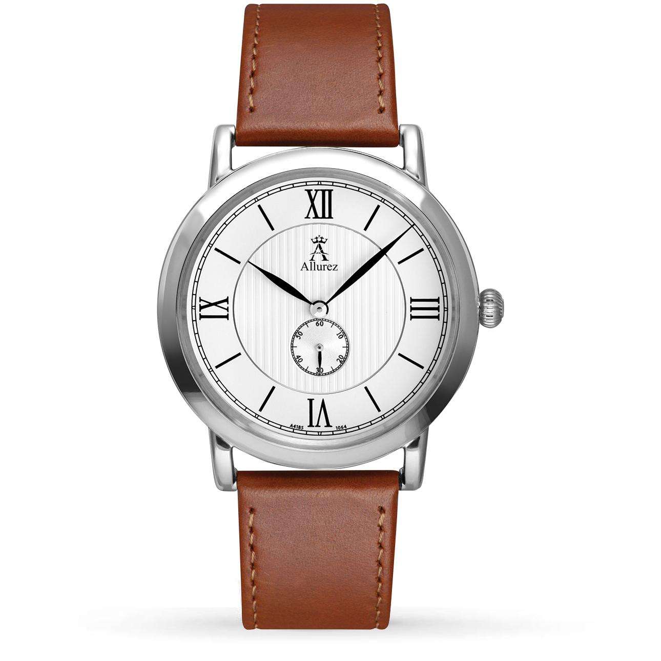 Allurez Unisex White Dial & Brown Leather Strap Watch