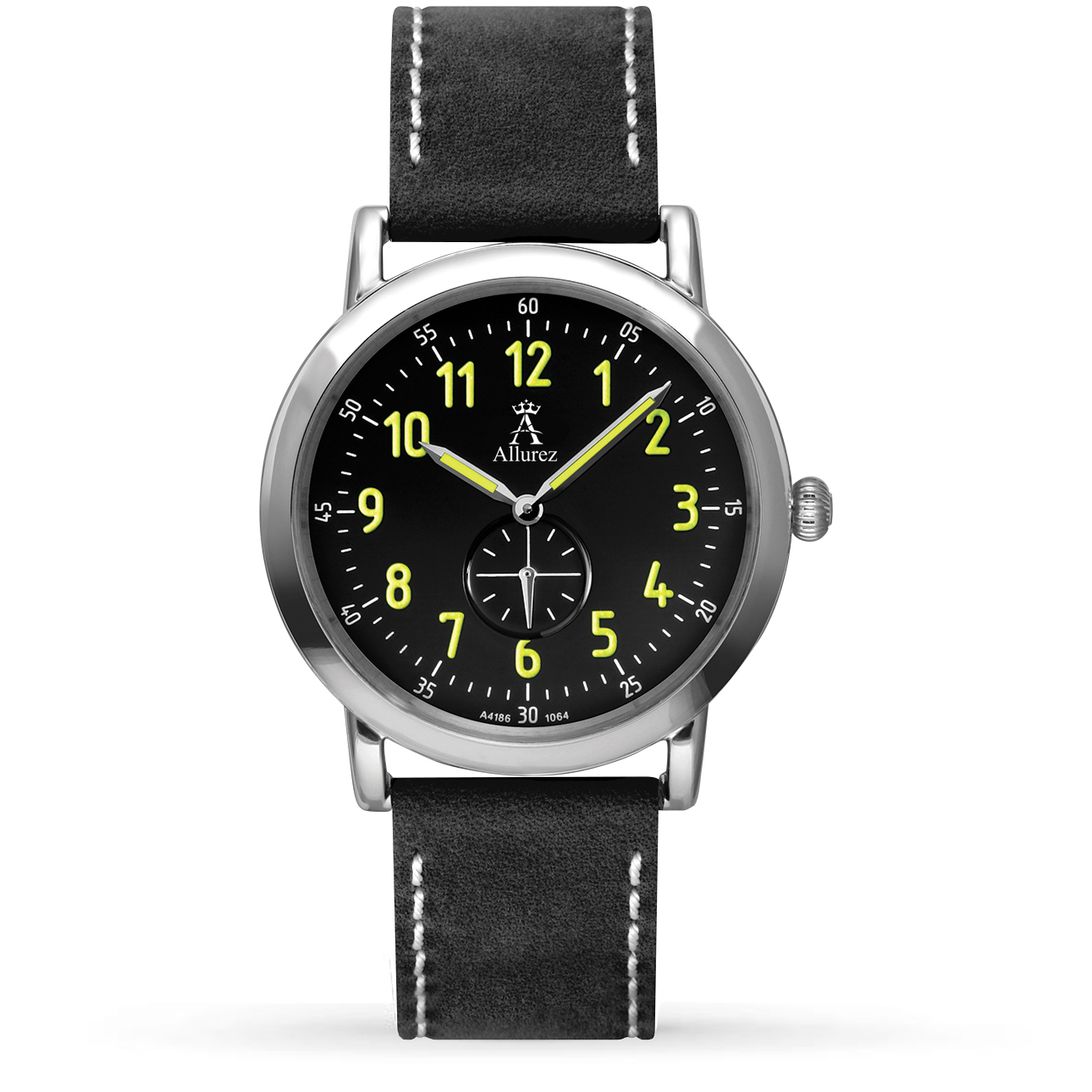 Allurez Unisex Black Dial & Black Leather Strap Watch