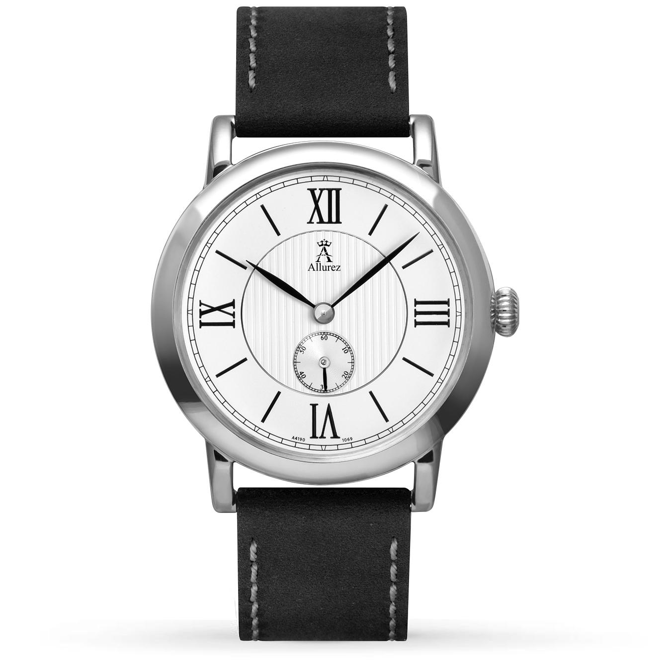 Allurez Unisex White Dial & Black Leather Strap Watch