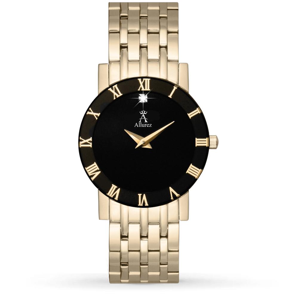 Allurez Women's Black Dial Gold-tone Stainless Steel Watch