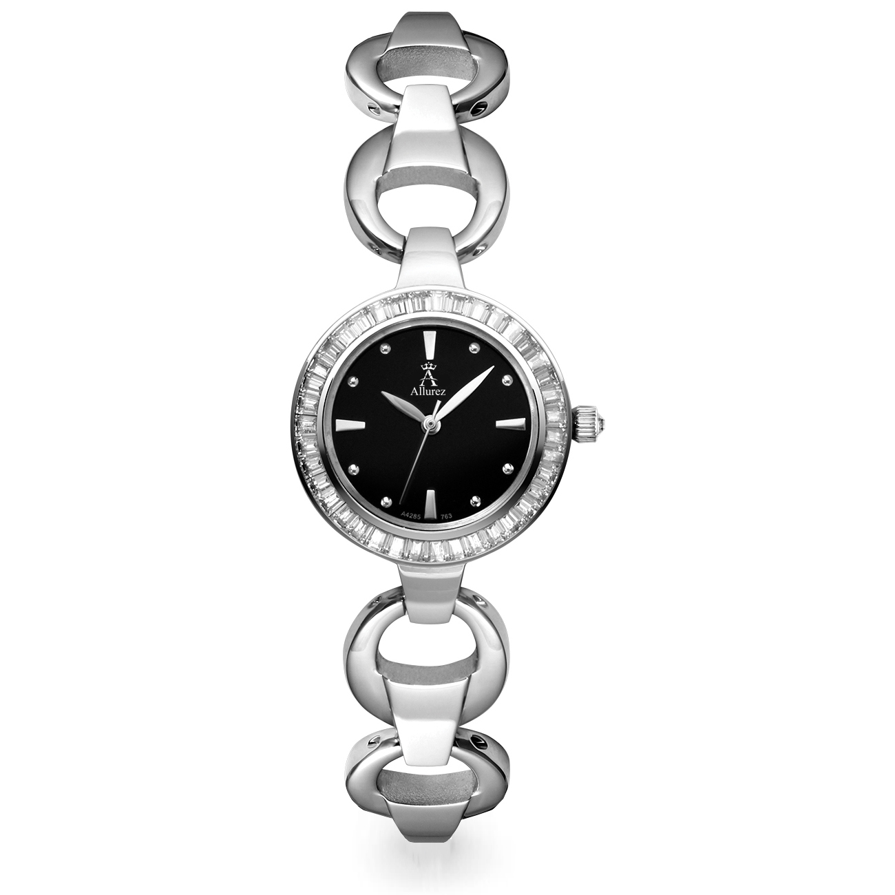 Allurez Women's Black Dial Stainless Steel Bracelet Watch