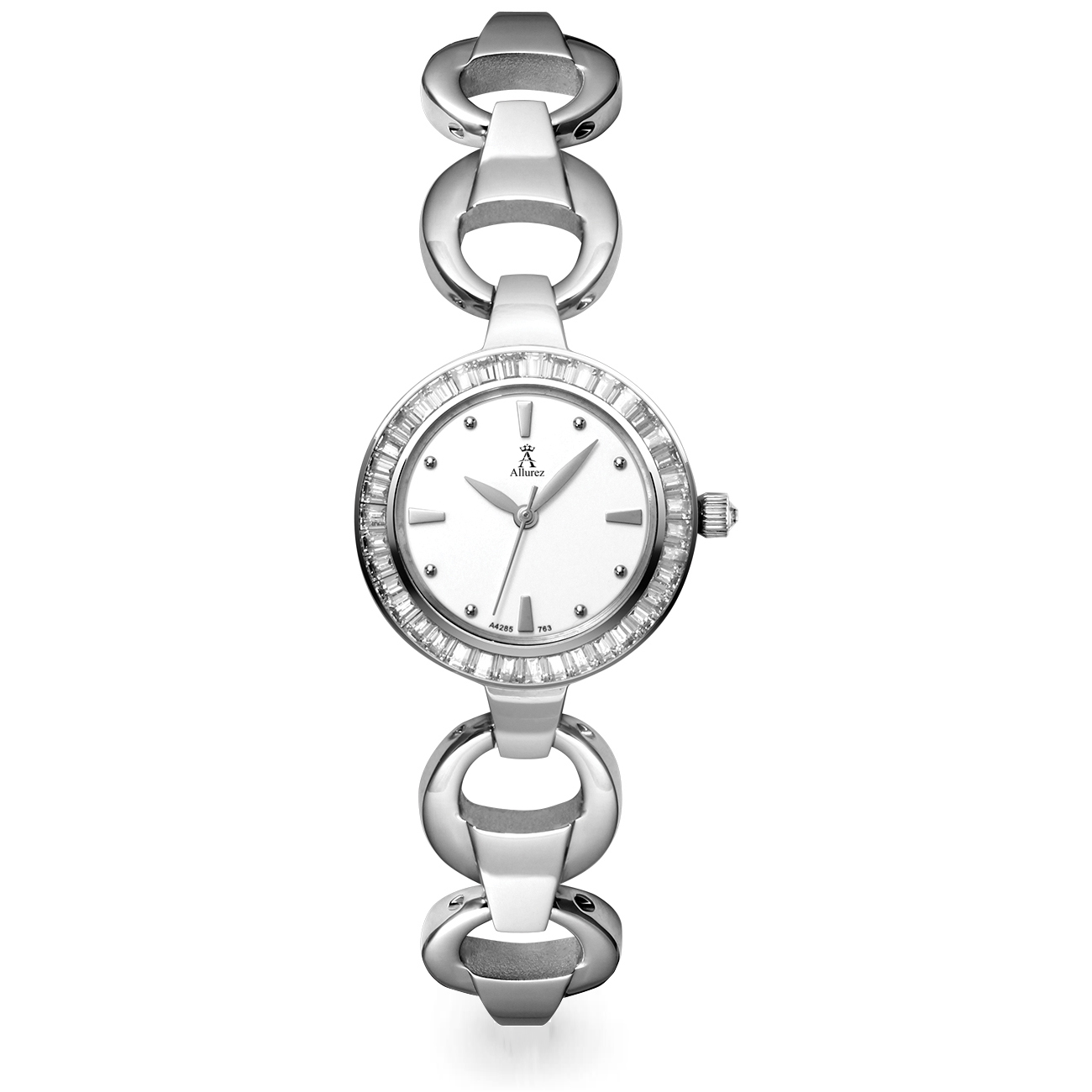 Allurez Women's Stainless Steel Bracelet Watch White Dial