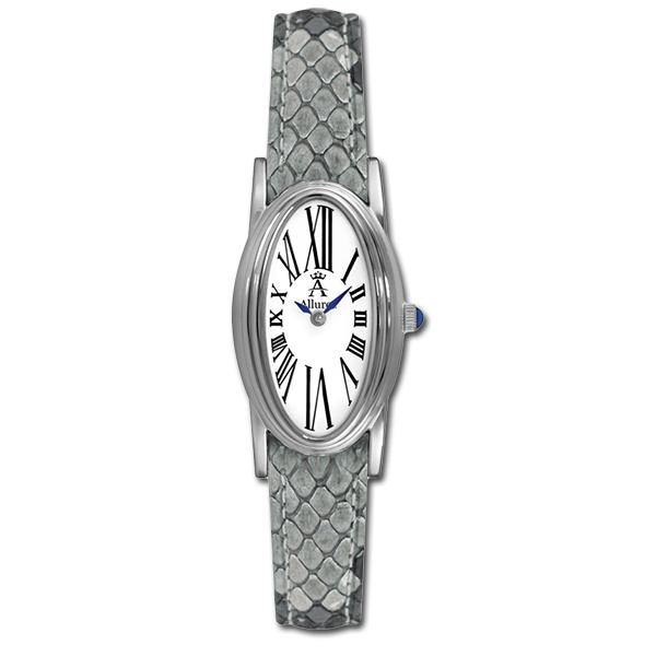 Allurez Grey Python Skin Strap Oval Watch for Women Roman Numerals
