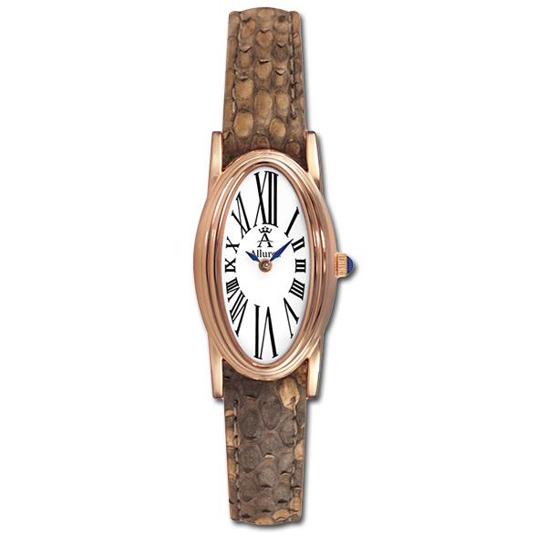 Allurez Python Skin & Rose Gold Oval Watch for Women Roman Numerals