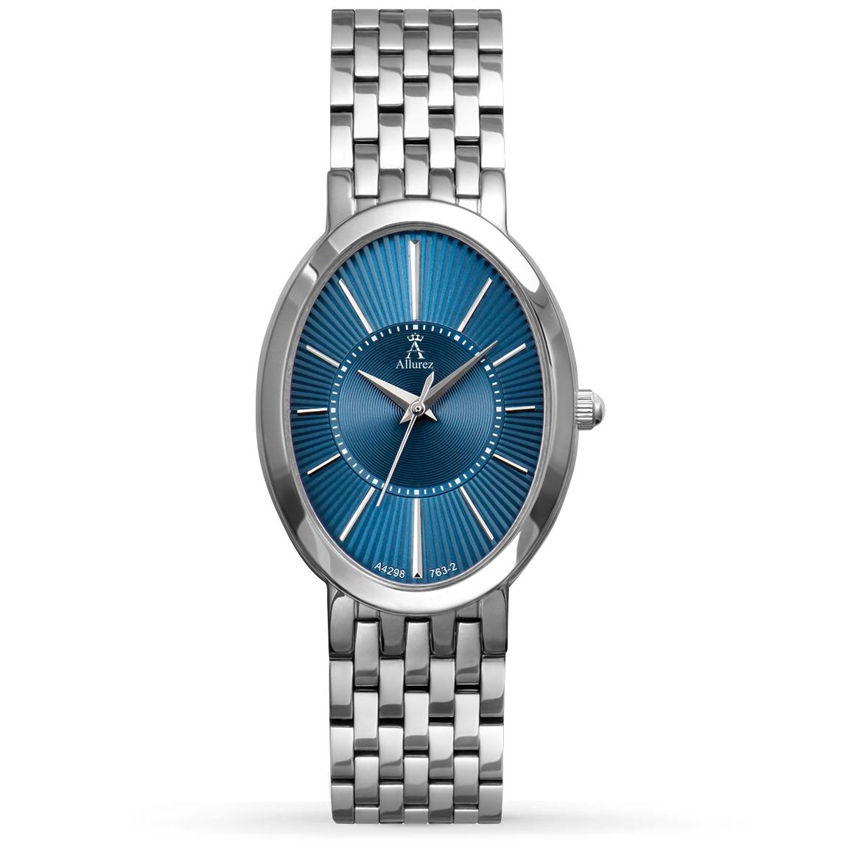 Allurez Women's Blue Oval Dial Stainless Steel Bracelet Watch