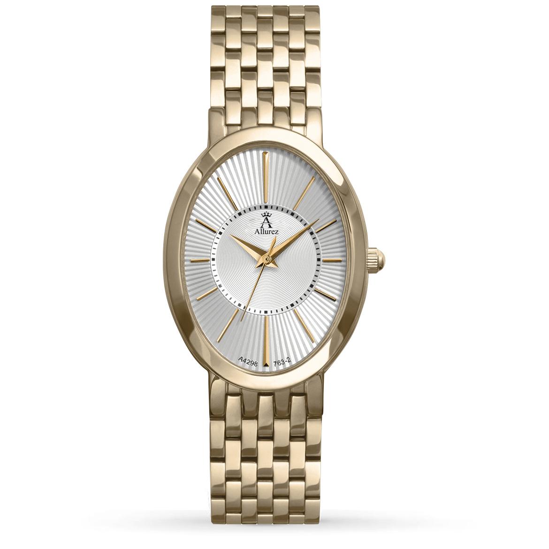 Allurez Women's Oval Dial Gold-tone Stainless Steel Bracelet Watch