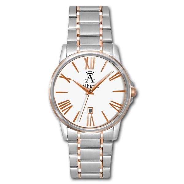 Allurez Unisex Two-Tone Classic Rose Gold Wrist Watch Swiss Quartz